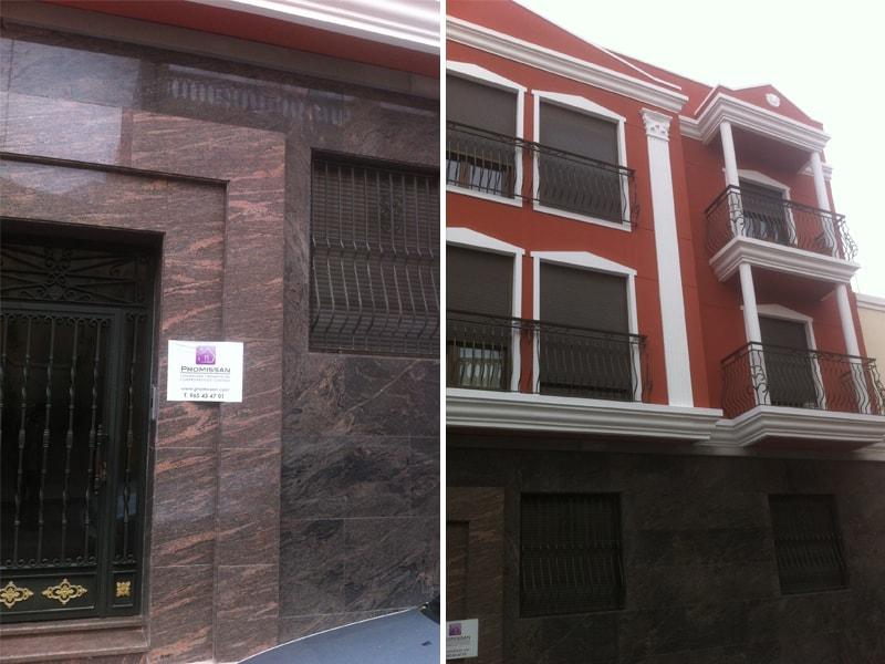 reparación de mármol y fachada.